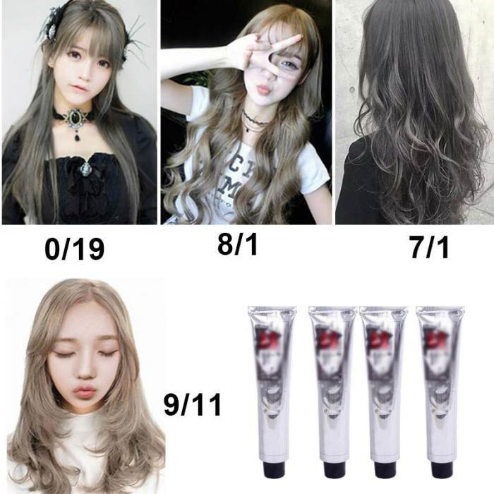 100ml Fashion Hair Cream Natural Permanent Professional DIY Dye Hairs Smoky Grey Coloring Light Gray Flaxen Style HB88