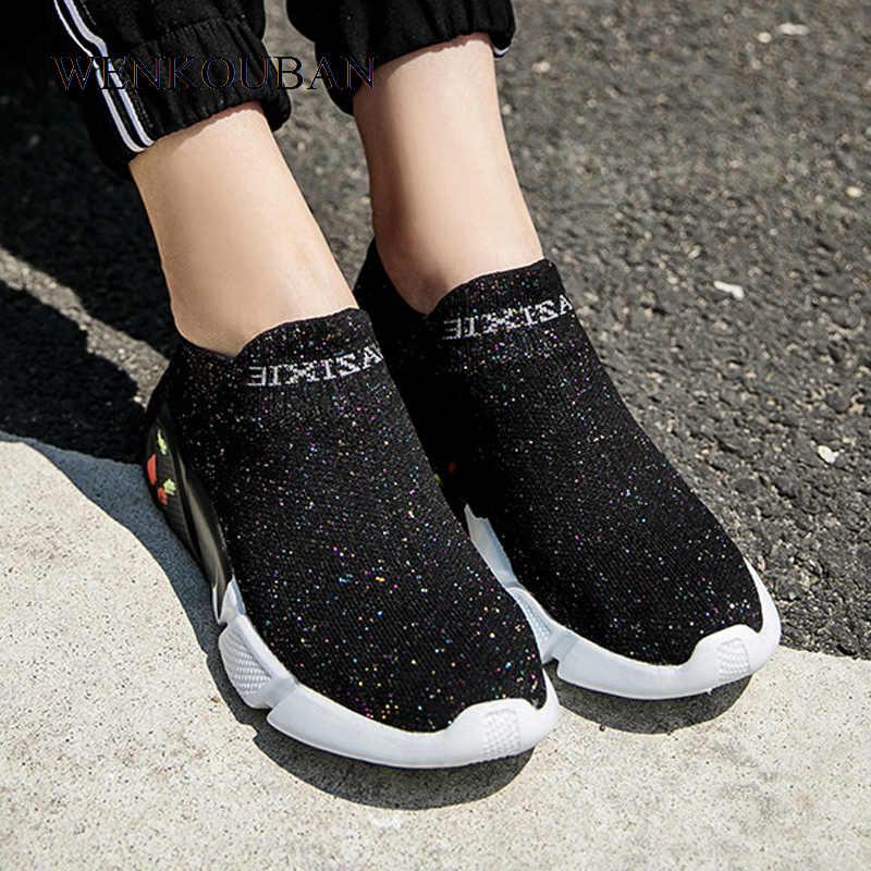 Women Sneakers Sock Shoes Ladies Slip
