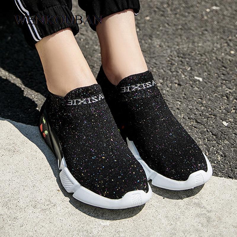 Femmes baskets chaussette chaussures dames sans lacet chaussures plates respirant maille formateurs été vulcanisé chaussures noir Zapatillas Mujer décontracté