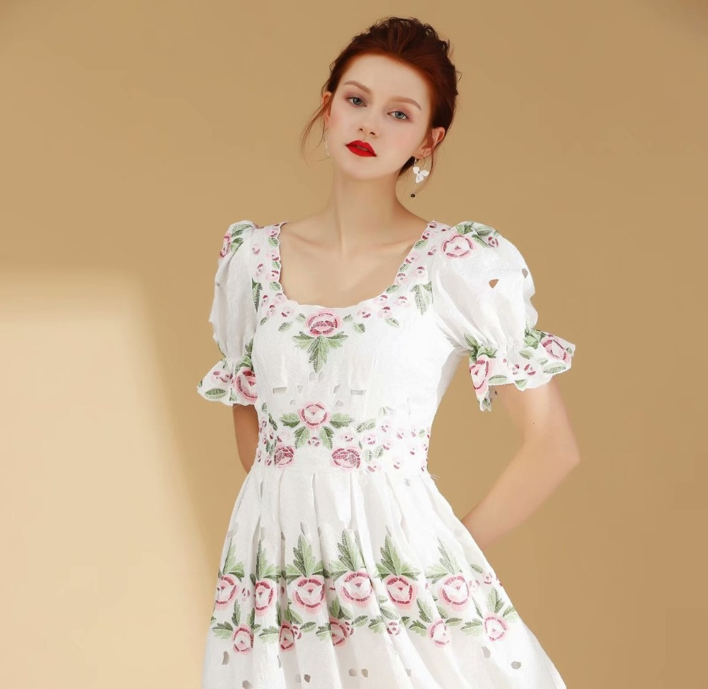 Women vintage fashion pink rose white embroidery dress mid calf elegant puff sleeve pleated dresses new 2019 summer