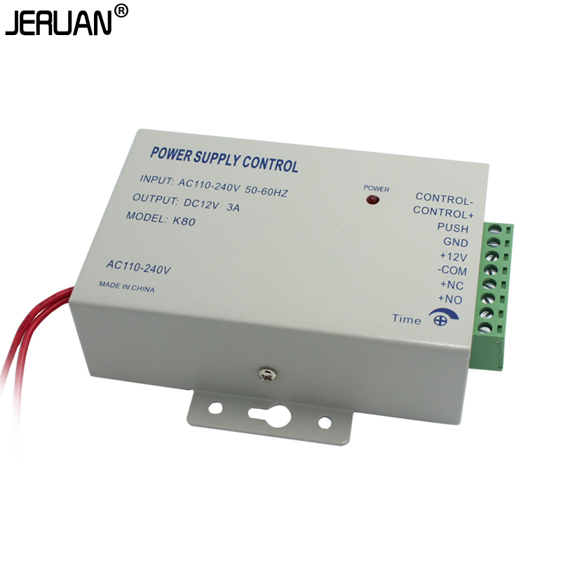 JERUAN DC 12V New Door Access Control system Switch Power Supply 3A/AC 110~240V Delay ti ...