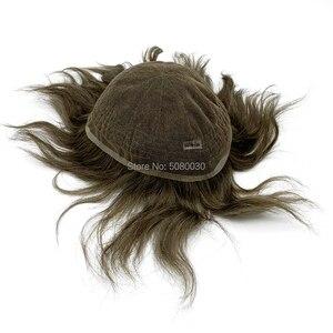 Image 2 - Pelucas para hombre de tupé, línea de pelo natural, encaje suizo completo, tamaño 8*10 pulgadas, sistema de cabello en stock, cabello humano remy
