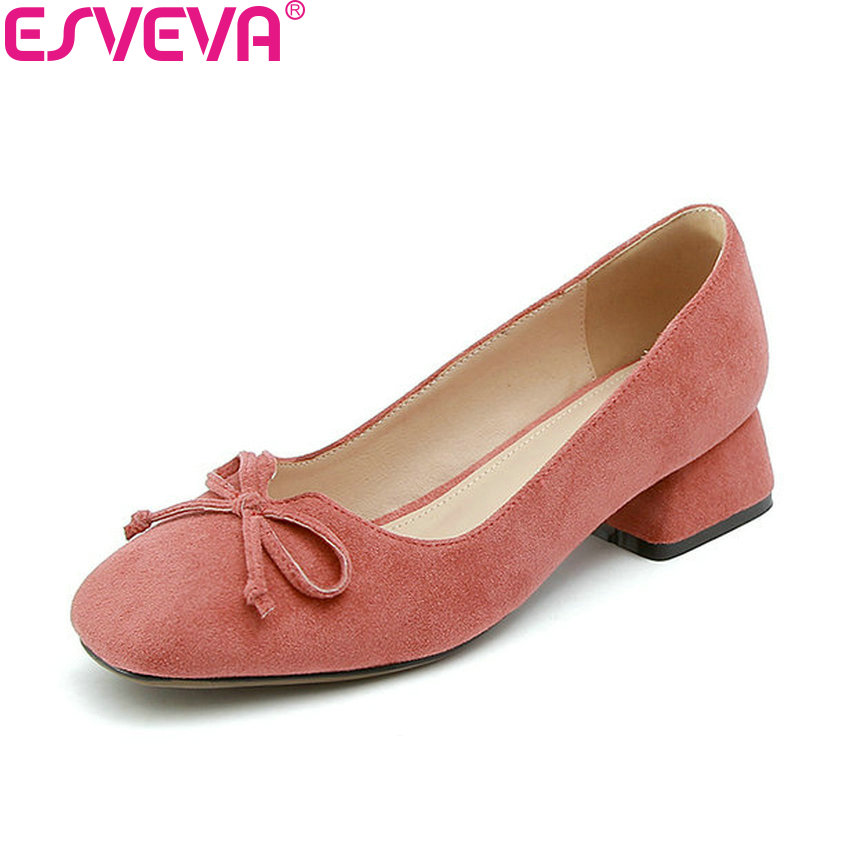 ESVEVA 2017 Women Pumps Square Toe Sweet Butterfly-knot Square Med Heels Shoes Flock Women Shoes Spring and Autumn Size 34-43 siketu 2017 free shipping spring and autumn women shoes sex high heels shoes wedding shoes sweet lovely pumps g126
