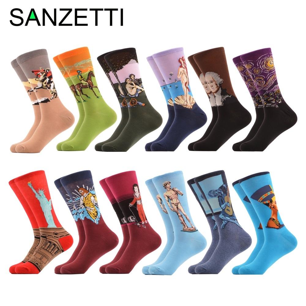 SANZETTI 12 pairs/lot Cool Mens Funny Socks Famous Retro Painting Naftiti Starry Sky Pattern Casual Novelty Crew Wedding Socks