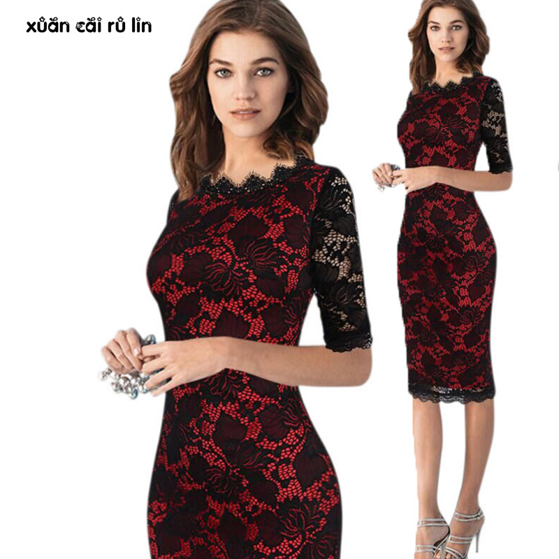 2018 autumn summer Large size 3xl lace hollow out dresses elegant <font><b>vestido</b></font> <font><b>de</b></font> <font><b>renda</b></font> <font><b>sexy</b></font> party pencil office <font><b>bodycon</b></font> women dress image
