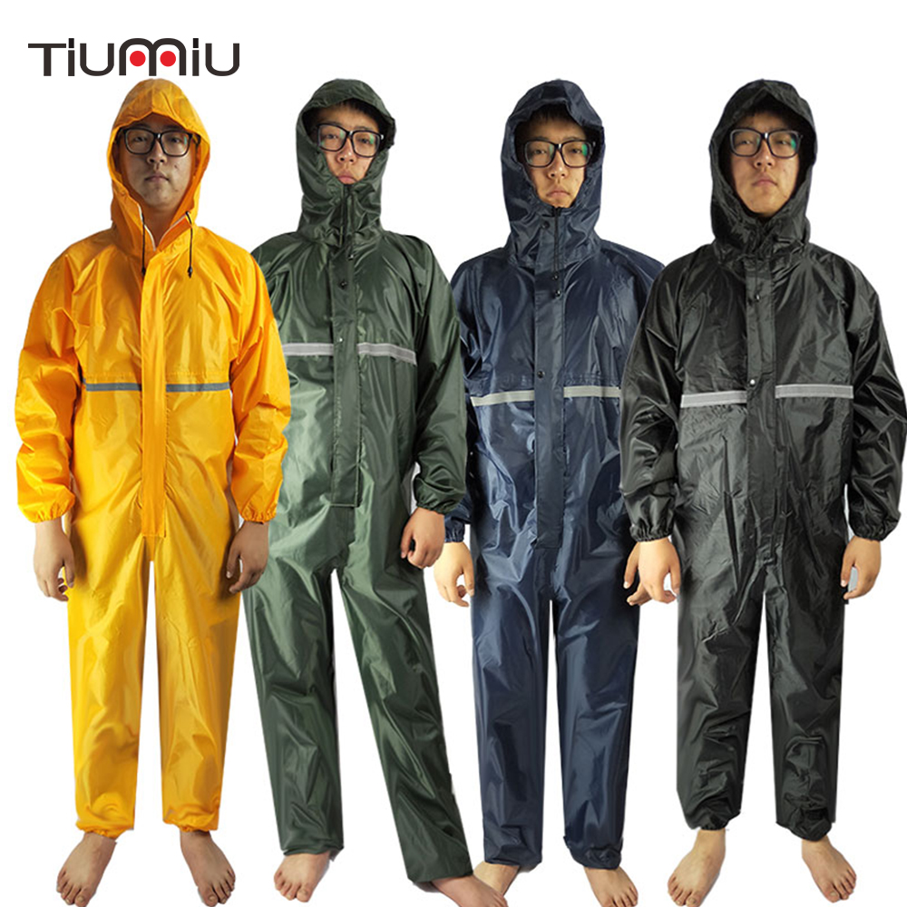 Men Waterproof Overalls Hooded Rain Coveralls Work Clothing Dust-proof Paint Spray Male Raincoat Workwear Safety Suits M-XXXXL
