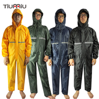 Men Waterproof Overalls Hooded Rain Coveralls Work Clothing Dust proof Paint Spray Male Raincoat Workwear Safety Suits M XXXXL