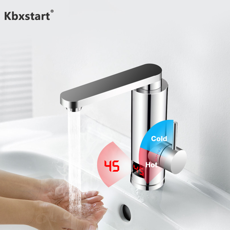 220v Tankless Electric Heater Kitchen Water Tap 360 Degree Rotate Cold And Hot Water Faucet With Led Display For Wash Bathroom Electric Water Heaters