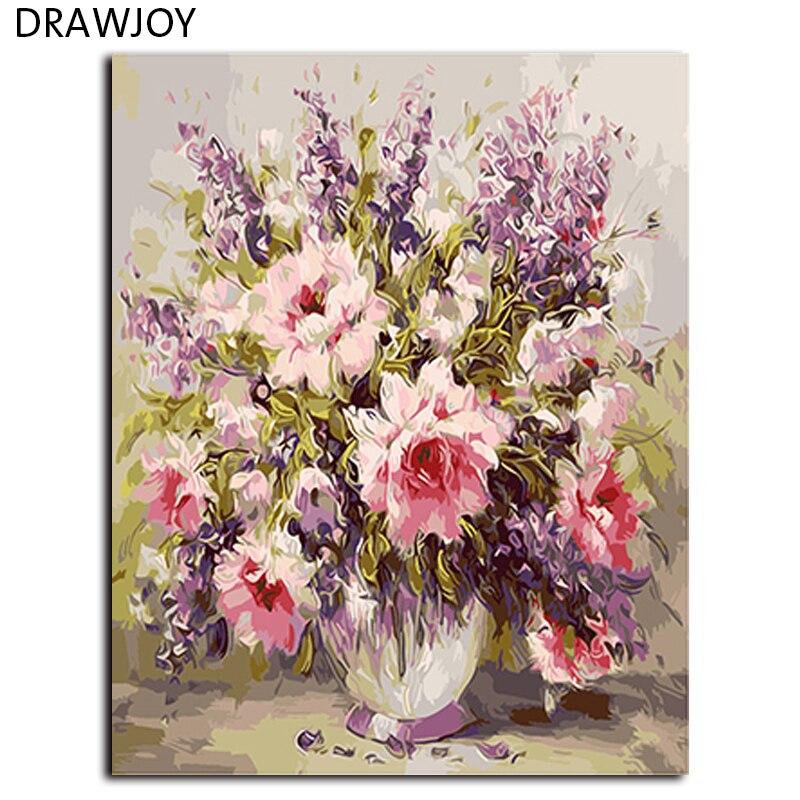 ▽Flor no Marcos cuadros pintura por números DIY digital lienzo ...