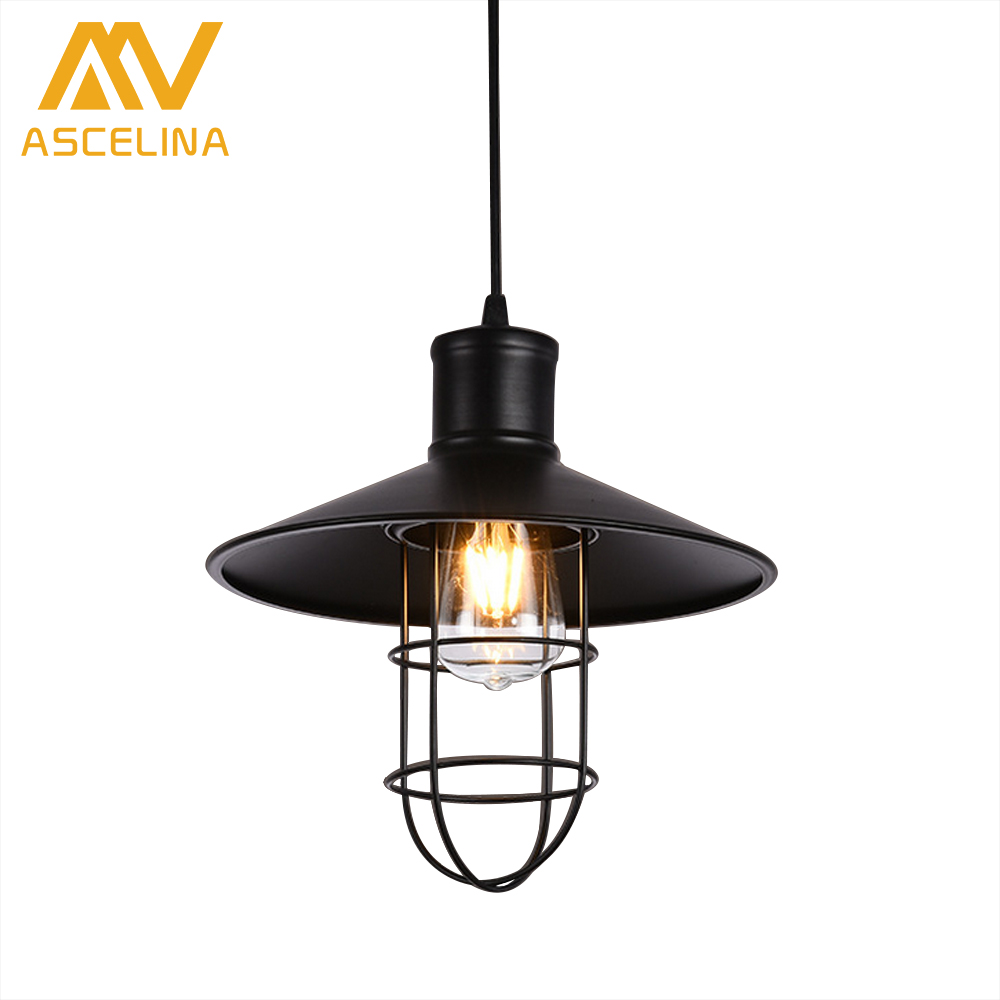 Vintage Iron Pendant Light Loft Industrial Lighting Glass Guard Design Cage Pendant Lamp Hanging Lights E27 Bar Cafe Restaurant restaurant bar cafe pendant lights retro hone lighting lamp industrial wind black cage loft iron lanterns pendant lamps za10