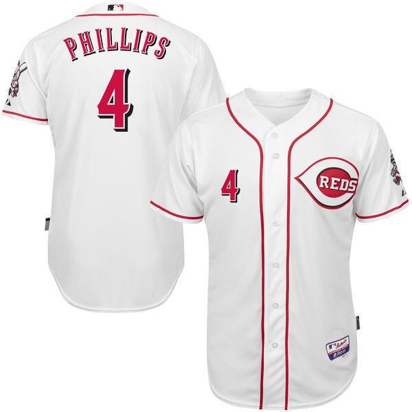 MLB Mens Cincinnati Reds Brandon Phillips Baseball White Home 6300 Player Authentic Jersey