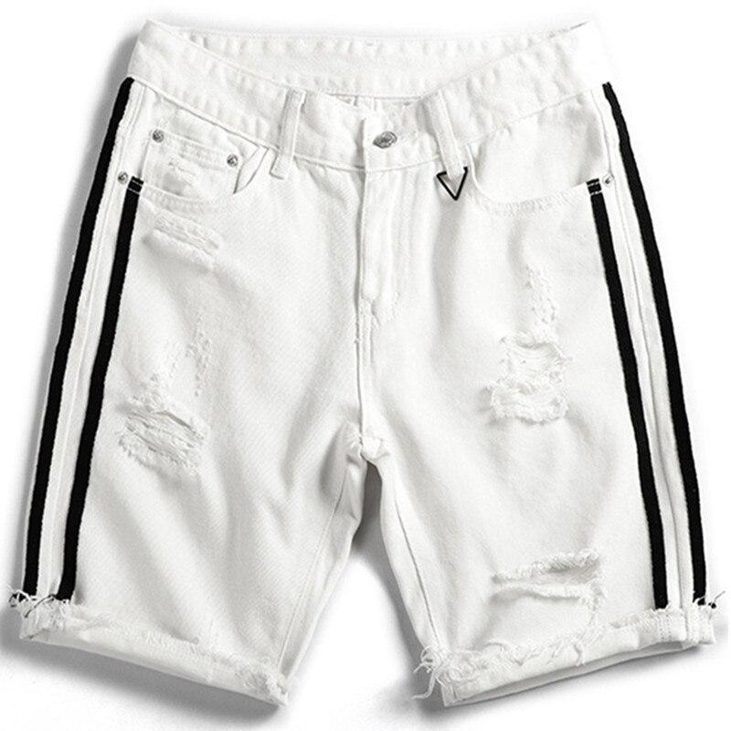 2019 Summer Fashion New Men's Casual White Jean Shorts / Men's Hole Black Denim Cowboy Shorts