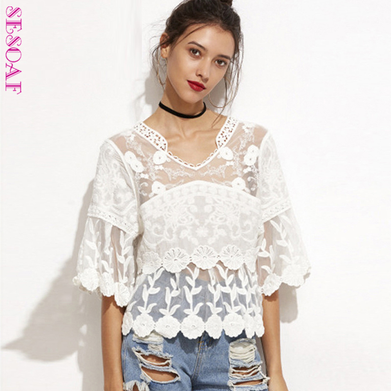 5512e5df20 US $13.25 20% OFF|Chic Embroidered Flower Patchwork Hollow Out Crochet Lace  Top V Neck Flare Sleeve Loose Blouse Boho Tops Blusas-in Blouses & Shirts  ...