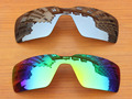 Chrome Silver & Green 2 Pairs Mirror Polarized Replacement Lenses For Probation Sunglasses Frame 100% UVA & UVB Protection