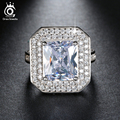 ORSA JEWELS Big Size Simulated Diamond 6 Ct Cushion Cut Zircon Wedding Ring Platinum Plated Engagement Ring for Women OR103