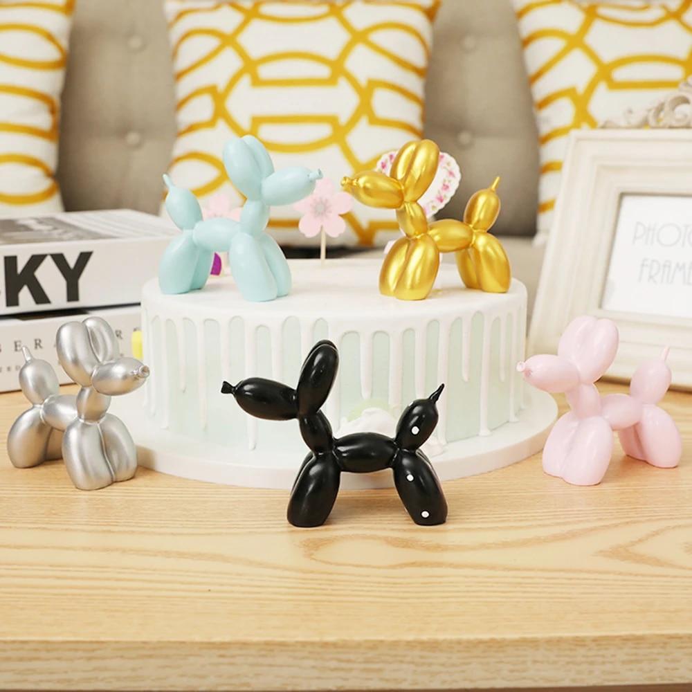Cute Small Balloon dog Resin Crafts Cake baking Party Dessert Home Desktop Decor