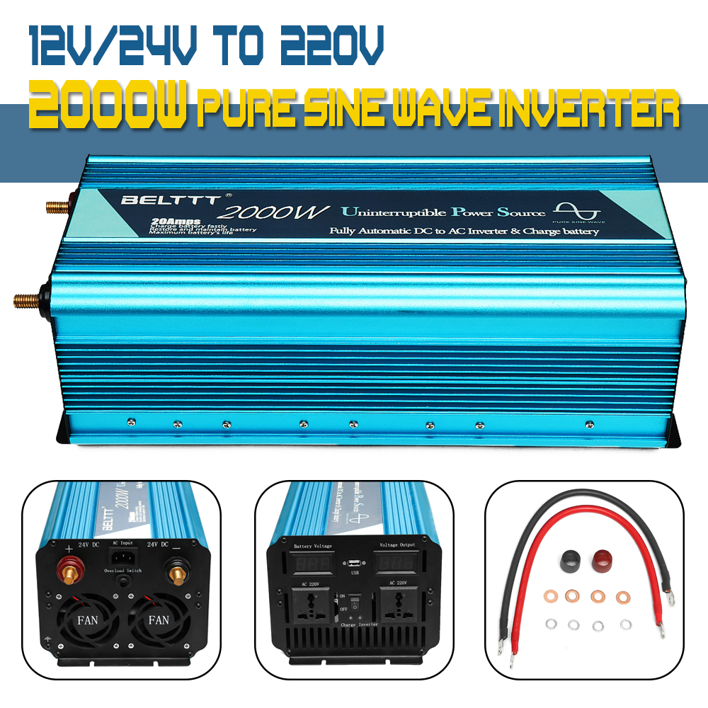 цена на Universal socket 2000W Pure sine wave Inverter1 for Car Home Outdoor 12V 24V to 220V UPS Inverter with USB Charger Max 4000W