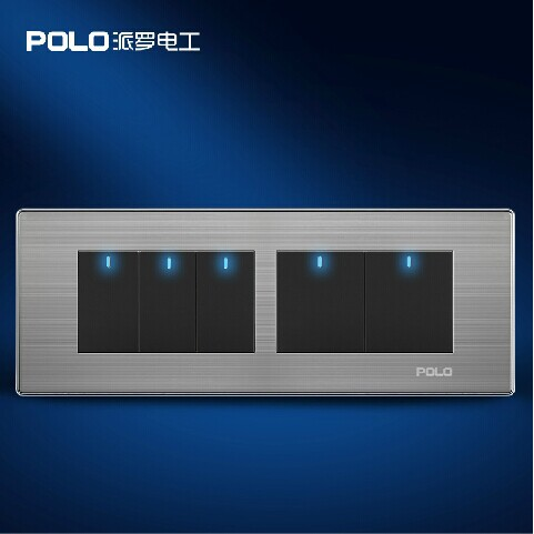 Free Shipping, POLO Luxury Wall Light Switch Panel, 5 Gang 2 Way, Champagne/Black, Push Button LED Switch, 10A, 110~250V, 220V free shipping polo luxury wall light switch panel 3 gang 2 way champagne black push button led switch 16a 110 250v 220v