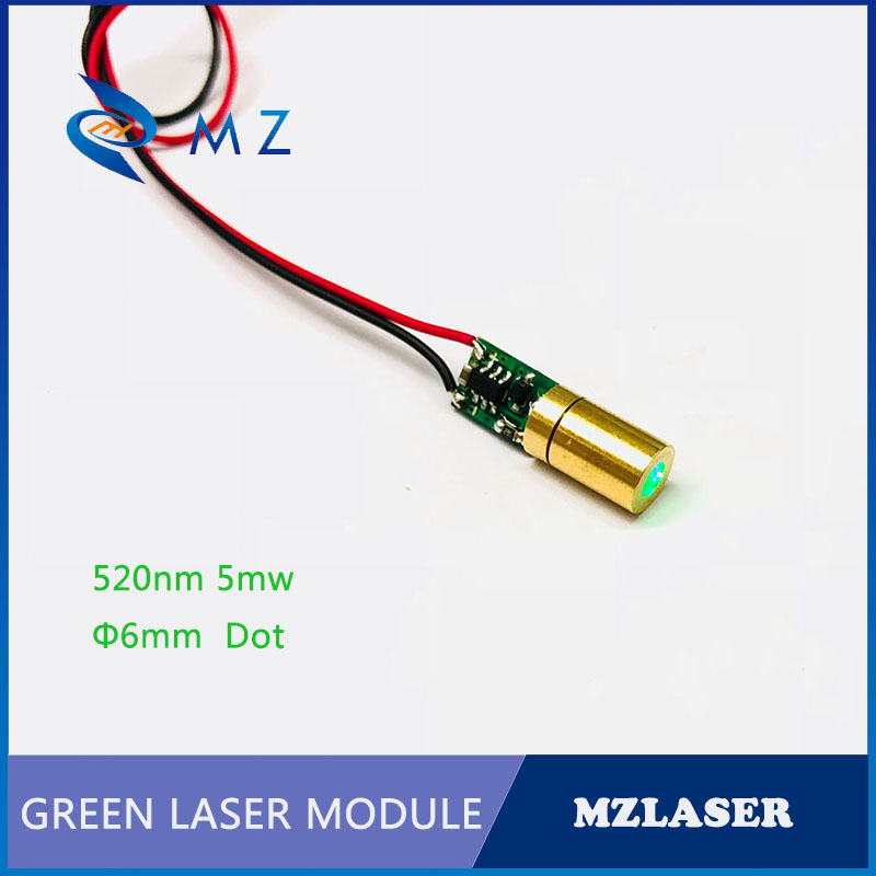 Dot Green Laser 6mm 520nm5mw Small Size Green  Industrial APC Driven Laser Module