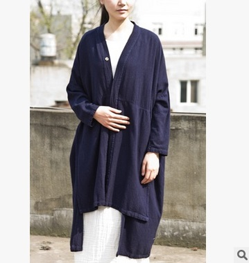 2016 spring product launches, original design 90% cotton 10% linen loose big yards women's   trench   coat