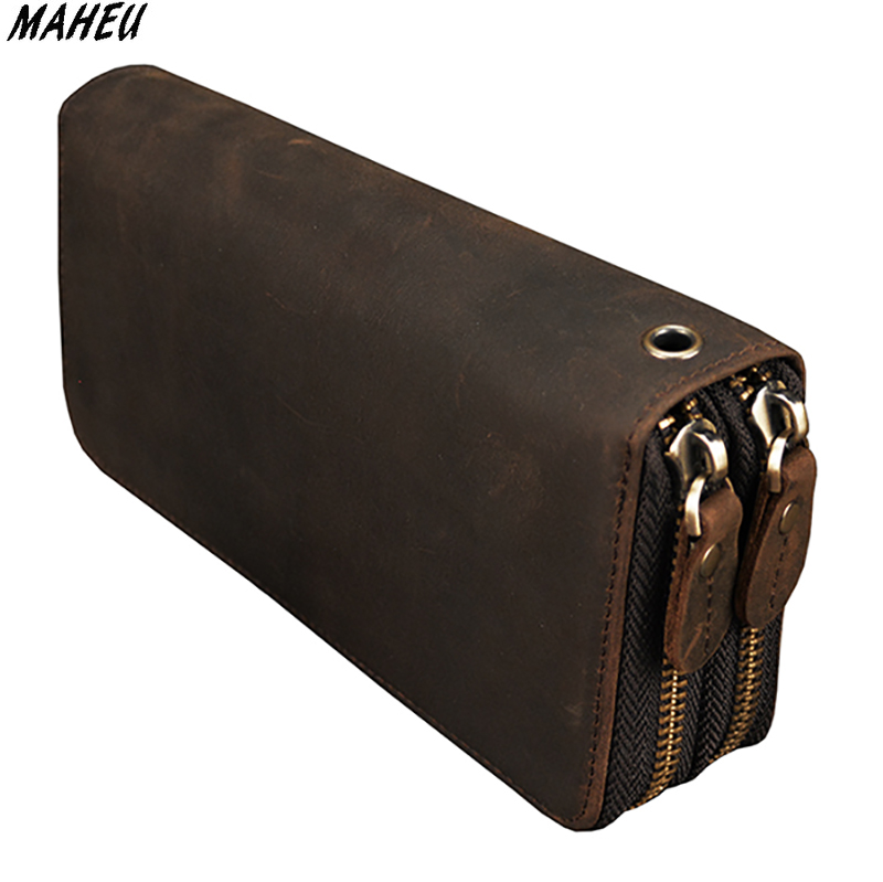 Double zipper men long wallet Vintage cow leather male clutch purse phone coin pocket credit card holder business men wallets hh genuine leather men wallet business zipper long standard wallets soft cow leather man money purse clutch with coin pocket
