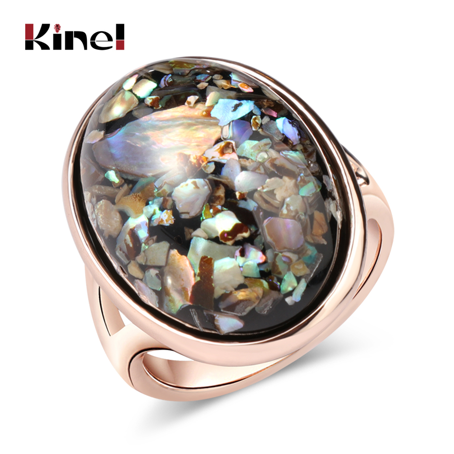 Kinel Luxury Colorful shells Ring For Women Dazzle Artificial Coral Accessories Vintage Oval Big Rose Gold Rings 2020 New|Rings|   - AliExpress