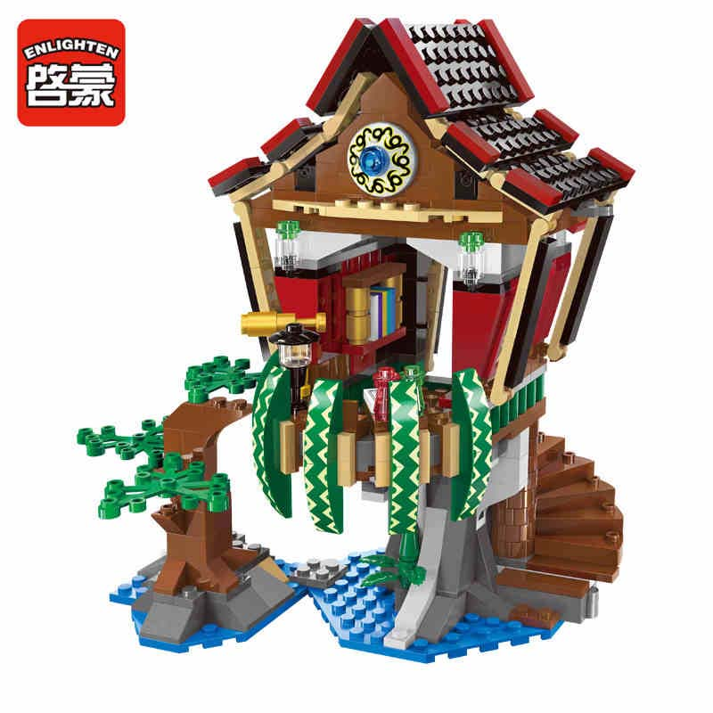 ENLIGHTEN New 506Pcs Pirates Series Sorcerer Hut Building Block Kids Gigt Minifigure Bricks Children Toys Compatible