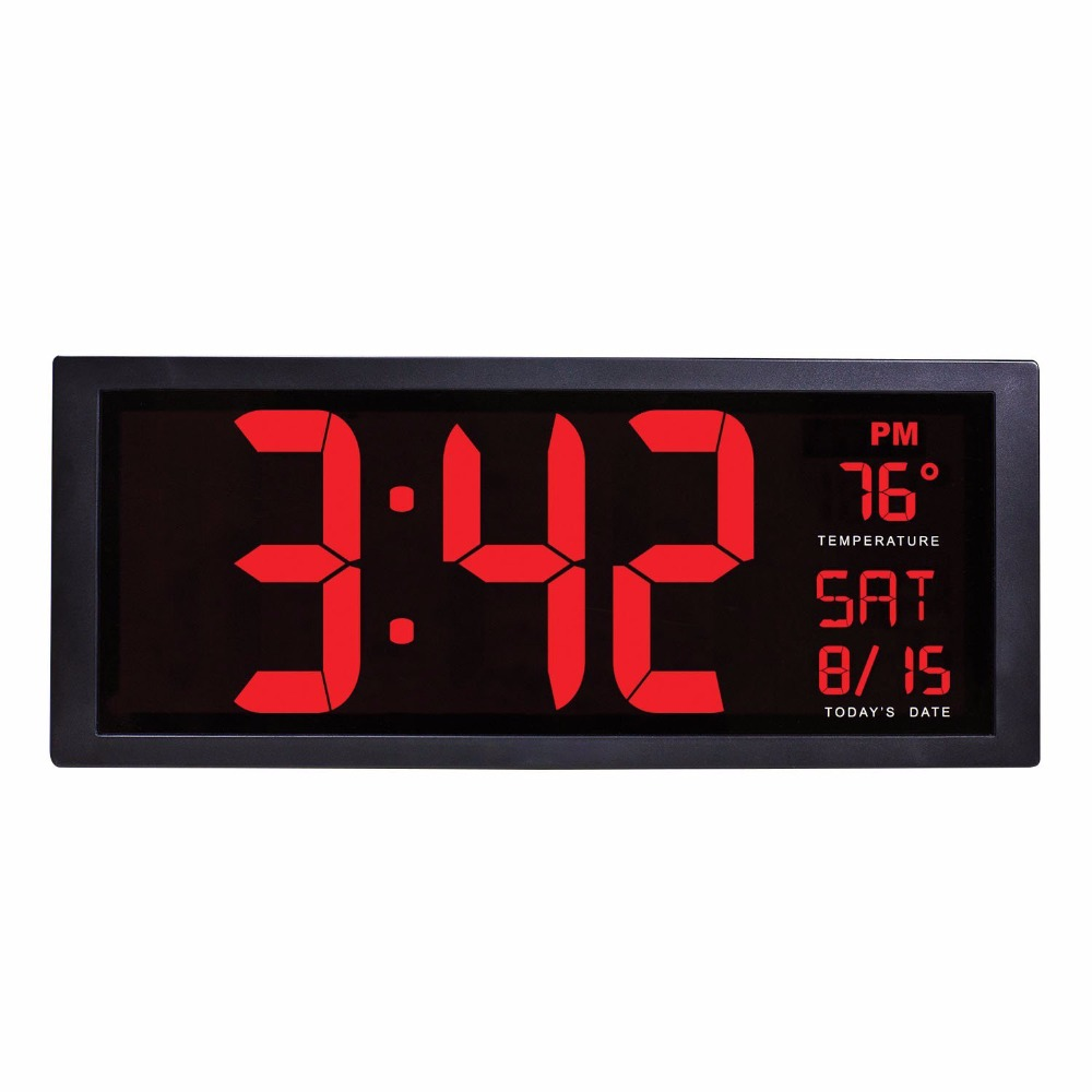 14Inch Electronic Wall Clock Large Screen Desktop LED Digital Calendar Clock With Thermometer Daylight Saving For Kitchen Mural