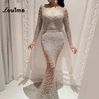 Arabic Dubai Mermaid Evening Dresses Long Sleeves Muslim Style Prom Dress Vestido De Festa Longo 2018 Abendkleider Party Dress