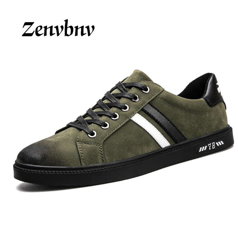 ZENVBNV Mens Casual Shoes 2017 New Arrival Comfortable Men leather shoes Flat Lace-Up sneakers Shoe Designer New Brand Men Flats