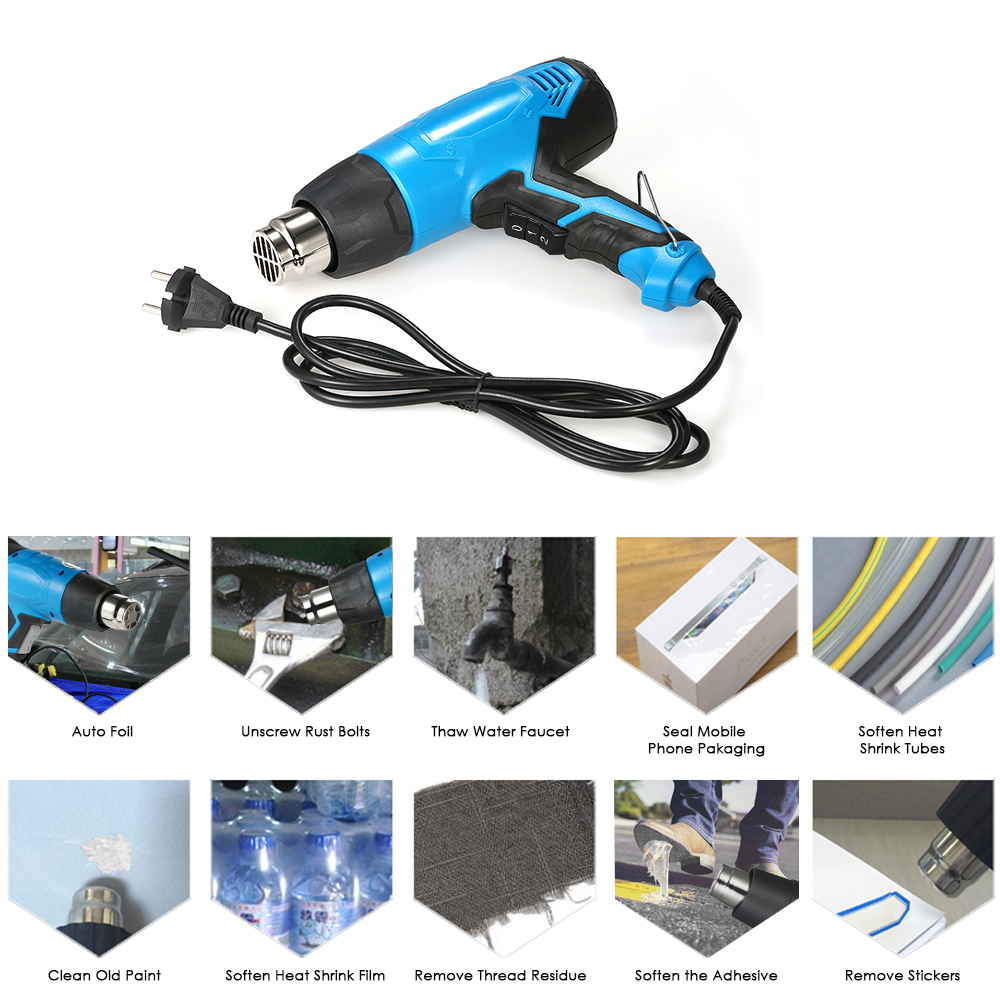 2000W AC220V Electric heat gun Hot Air Gun Temperature controlled Building Hair dryer Adjustable Thermoregulator Power Tool in Heat Guns from Tools