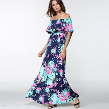 TIGENA Off Shoulder Floor Length Summer Dress 2018 Women Summer Sundress Backless Tunic Long Maxi Boho Beach Dress Female