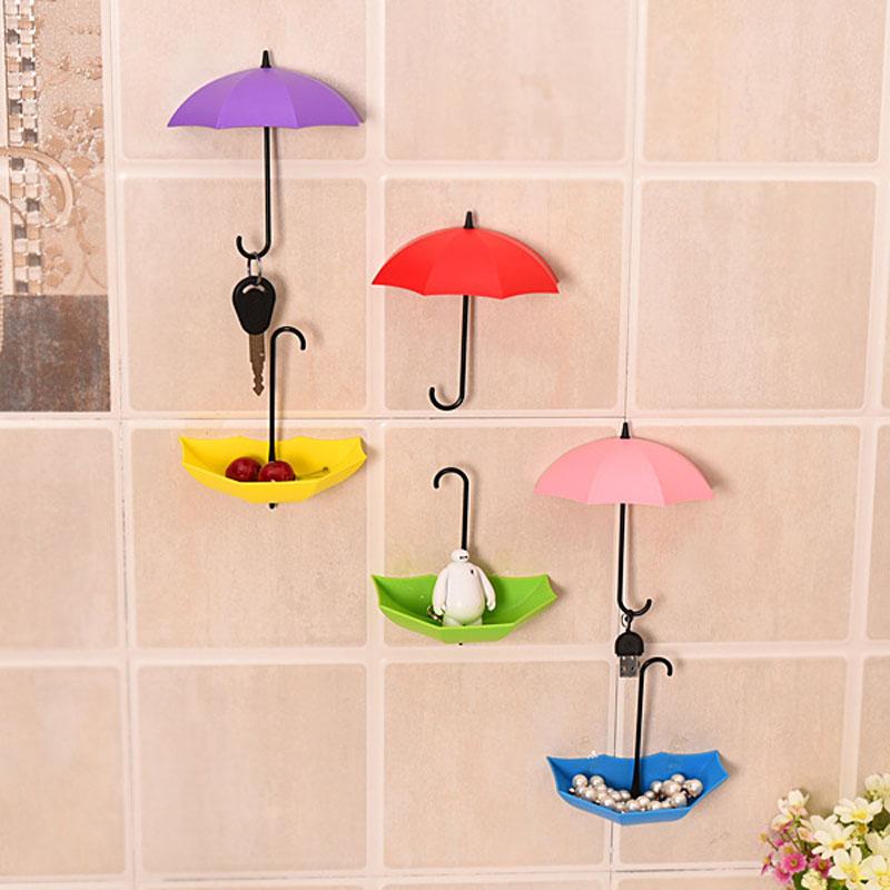 New Umbrella Wall Hook 3pcs/set Cute Umbrella Wall Mount Key Holder Wall Hook Hanger Organizer Durable Key Holder 1
