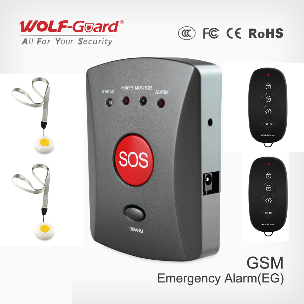 Wolf Guard Wireless GSM SMS SOS Button Panel One Key Alarming Elder Children Emergency+Remote for Home Alarm Security System