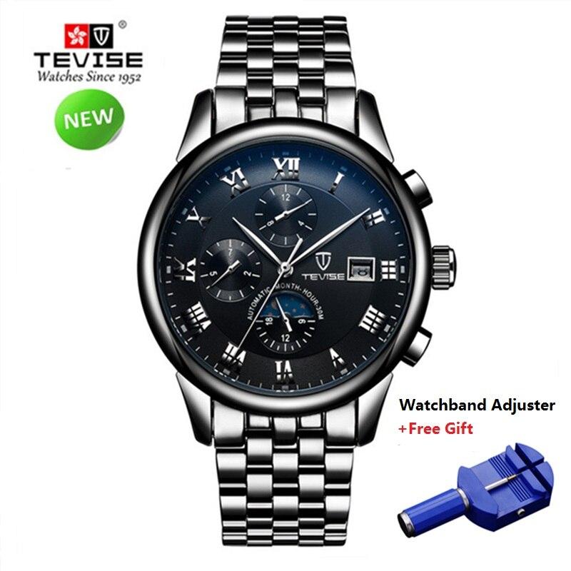 2018 automatique montre mécanique hommes marque de luxe TEVISE en acier inoxydable montre en or hommes étanche montres Relogio Masculino