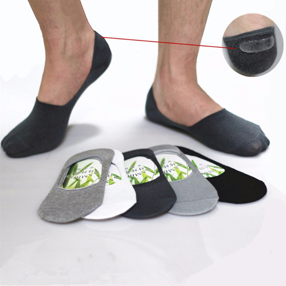 Mens Socks Slippers Bamboo fibre Non-slip Silicone Invisible Boat Socks Men/Women ankle socks 10pcs=5pairs/lot