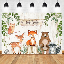 NeoBack Woodland Baby Shower Backdrop Vinyl Animals  Party Banner Photography Backdrops