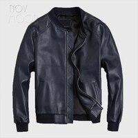 Men royal blue genuine leather real lambskin Motorcycle biker bomber jackets coats plus size jaqueta de couro deri ceket LT2413