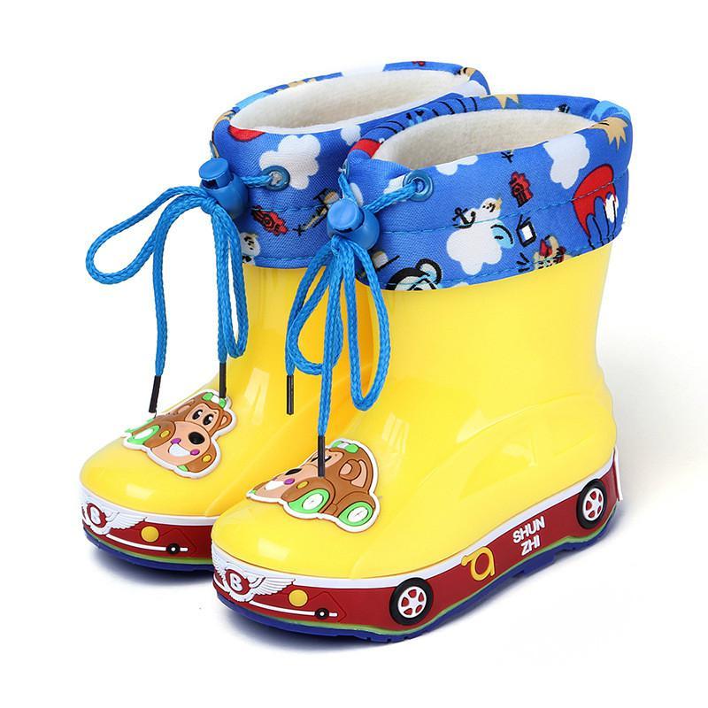 Winter Rainboots Children Rubber Boots Girls Boys Kids Cartoon Rain Boots Candy Color Antiskid Waterproof(Little Kid/Baby Boots)