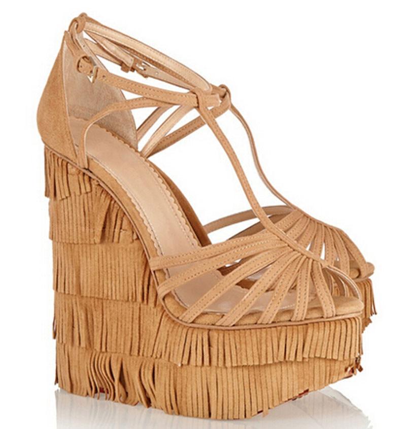 New fashion cut outs croce strap nappe sandali con zeppa alta piattaforma altezza crescente donna scarpe sandalo-in Tacchi alti da Scarpe su  Gruppo 2
