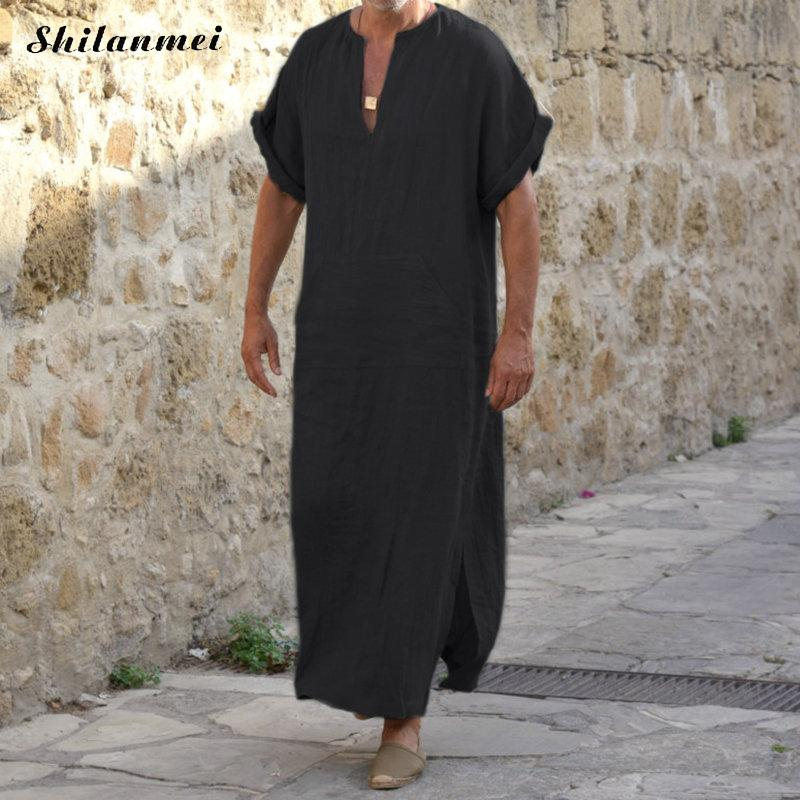 Plus Size Muslim Men Islamic Cloth Summer Jubah Thobe Robes Kaftan Pocket Solid Arabic Dubai Short Sleeve Abaya Clothing 5XL 4XL