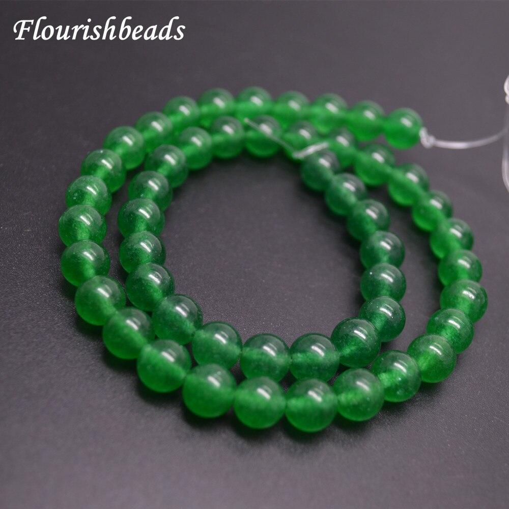 4 мм-12 мм Высокое качество красиво Окрашенные Зеленый Малай Нефритовый камень Круглый L ...