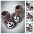 Crochet Teddy Bear Baby Booties,Knitted Baby Shoes,Newborn Infant Booties,Funny Booties for babies,Baby shower gift,choose size
