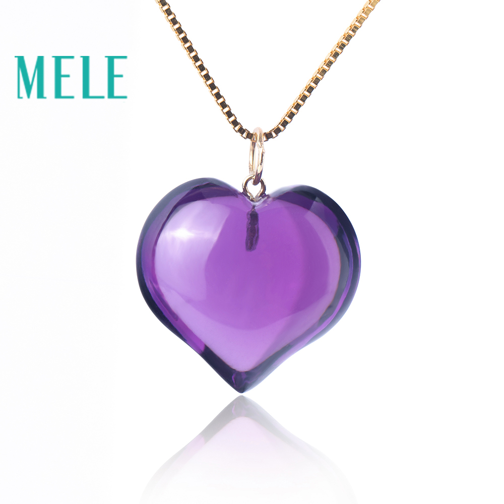 Natural amethyst real 18K gold pendant for women and man,heart shape trendy and simple fine jewelry with high quality,best gift yoursfs 18k rose white gold plated letter best mum heart necklace chain best mother s day gift