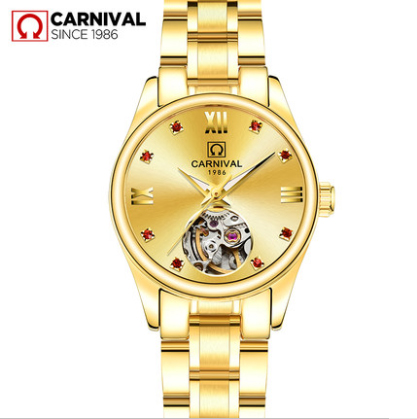 Luxury Full Gold Skeleton Automatic Watches For Women Dress Casual Clock Ladies Fashion Watch Relogio Feminino Carnival New title=