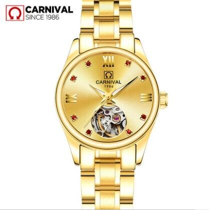 Grezns, pilna zelta skeleta automātiskais pulkstenis sievietēm, kleita gadījuma pulksteņa dāmām, modes pulkstenis Relogio Feminino Carnival New