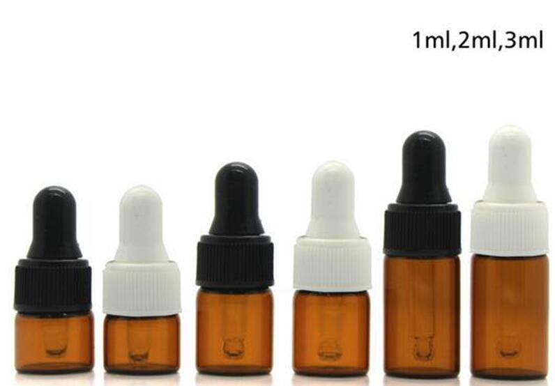 500PC 1ml 2ml 3ml Amber glass dropper bottles w/Black & white cap Essential oil bottle, Small Perfume vials Sampling Storage A66