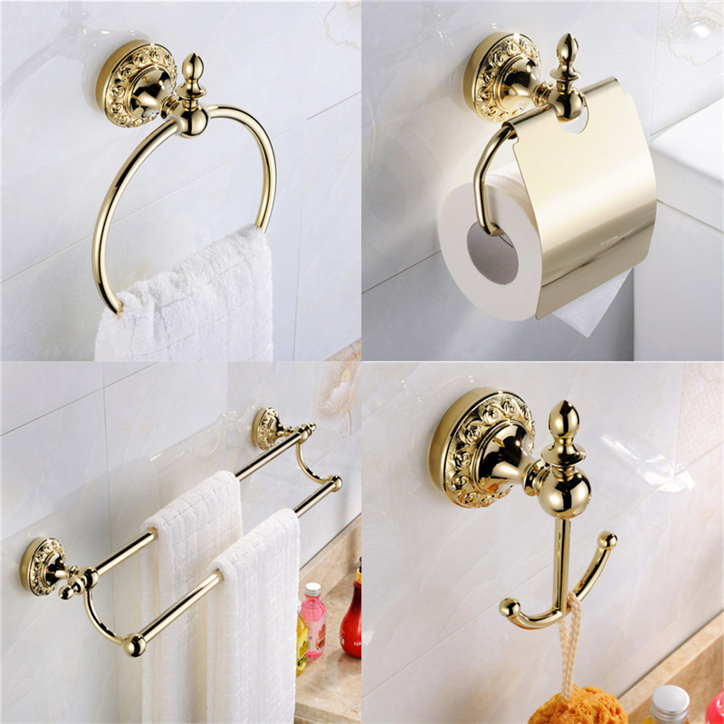 Leyden Luxury 4PCs Brass Robe Hook Double Towel Bar Toilet Paper Holder Towel Ring Gold Flower Carving Bathroom Accessories Sets apl 6411 12 bathroom classic brass paper holder towel ring with lotus carving base bronze