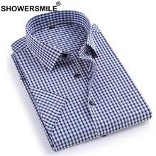 f0574f06c2 Camisas Xadrez Homens CHUVEIROS Smart Casual Algodão Vestido de Manga Curta  Camisa Masculina Camisa Xadrez Estilo