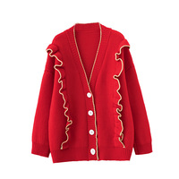 2019 Autumn Winter New Korean Ruffles Single Breasted Sweater Coat Women's Red Loose V neck Knitted Cardigan